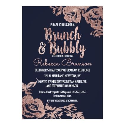 #bridal #shower #invitations - #Navy Blue and Rose Gold Floral Brunch and Bubbly Card