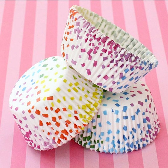 50 Confetti Rainbow Cupcake Liners by HeyYoYo on Etsy, $5.00