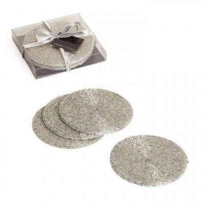 Glass Beaded Coasters in Bright Silver