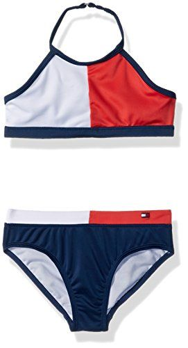 ea080fcc27 Tommy Hilfiger Big Girls' Two-Piece Swimsuit, Flag Blue ...