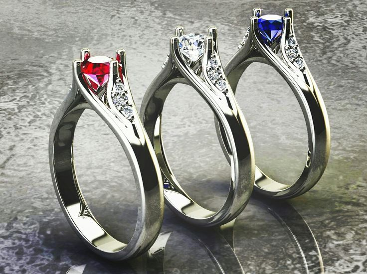 18k white gold rings. According to your request, can be made of gold or silver with different gems. Contact me for price.