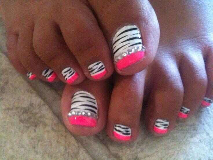 Hot pink zebra rhinestone nails