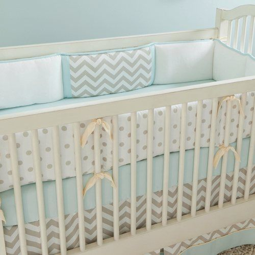 Taupe Zig Zag Crib Bedding   Boy or Girl Baby Bedding Collection in Taupe and White Zig Zag   Carousel Designs