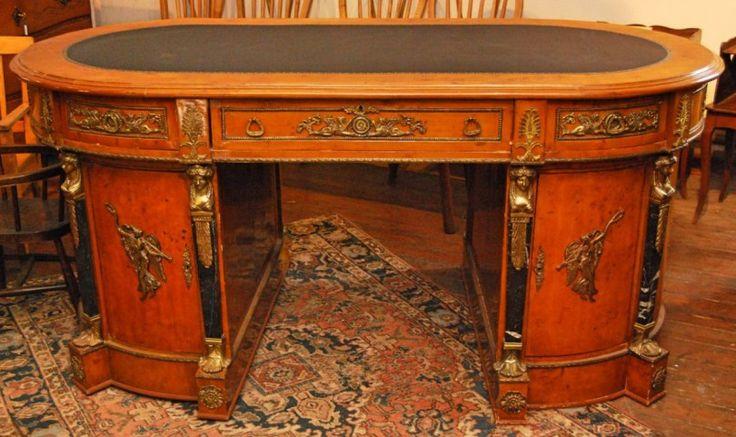 Ovaler Schreibtisch, Ahorn, ca. 1900