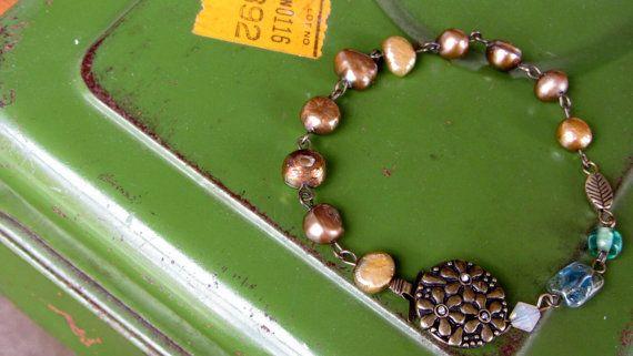 Light Olive and Mustard Blend Pearl Bracelet by AmarisJewelry, $7.00