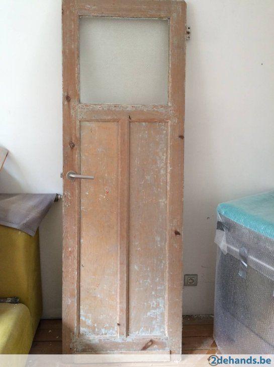 Houten binnendeur met mooi glas te Deurne A'pen - Te koop
