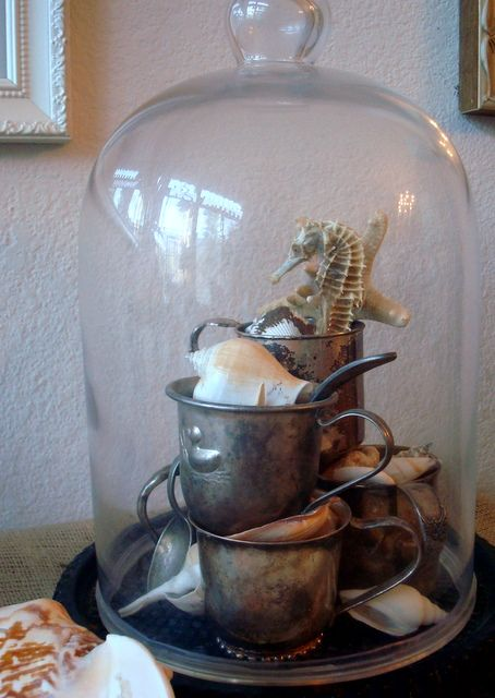 Baby cups, darling display. Be cute with vintage white baby shoes as well. #Vintage, #Home Decor, #Design