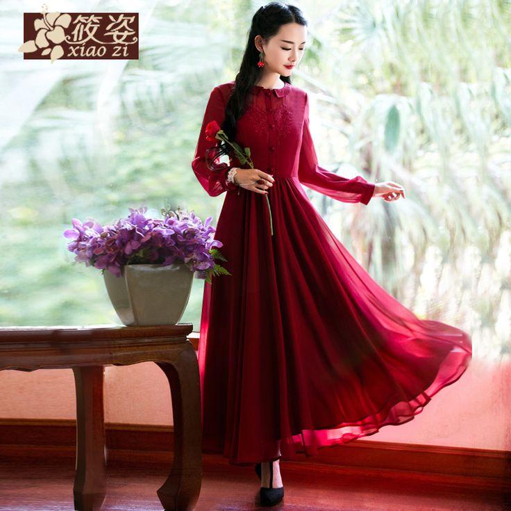 Xiao Zi Hongxiutianxiang rochie rever 2015 primăvară nouă retro sifon rochie fals două mari fusta