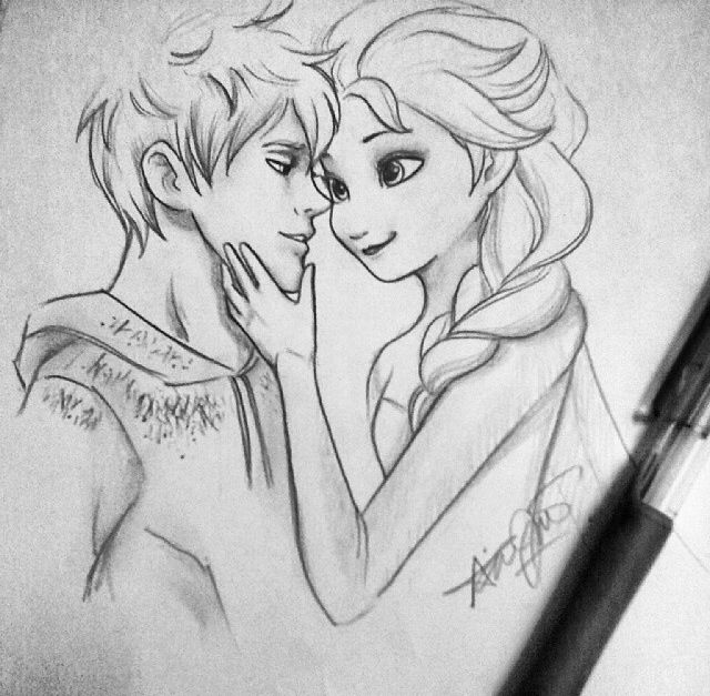 Adorable Jack and Elsa drawing