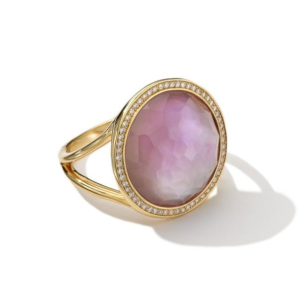 Ippolita 18K Gold Rock Candy Lollipop Ring with Diamonds -  Amethyst over mother-of-pearl.