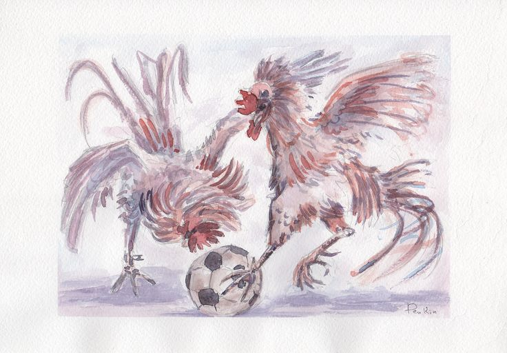 #art #искусство #живопись #акварель #творчество #растения #painting #watercolor #creativity #plants #AndreyPenkin #Penkin #петух #2017 #портрет #portrait #rooster #футбол #мяч #ball #football