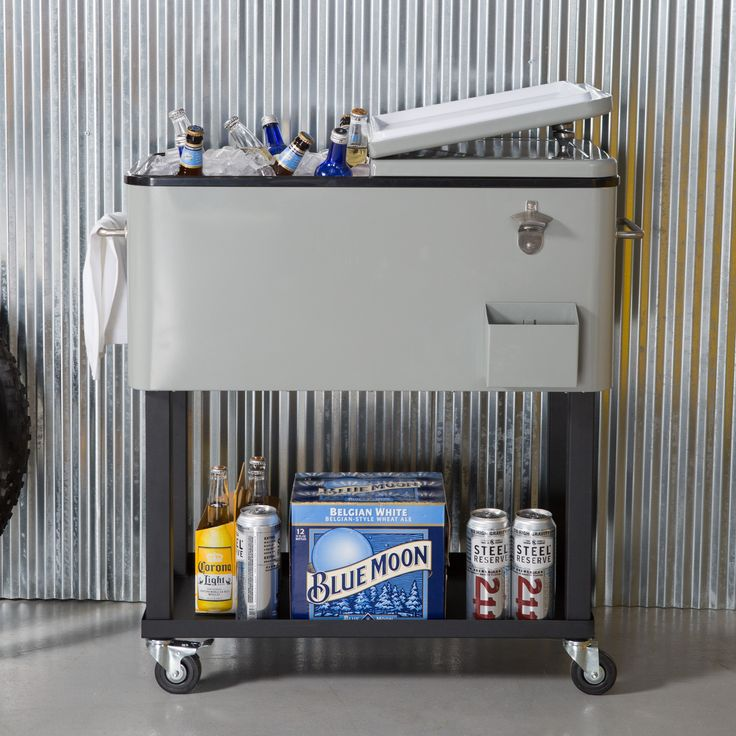 Oakland Living 80 qt. Patio Cooler Cart - Keep guests happy by adding a level of service to your next gathering with the Patio Cooler Cart. With a steel body, this cooler is made to handle...