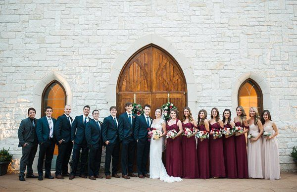 Bridal Party in Navy and Burgundy   photography by http://www.tracyenochphotography.com
