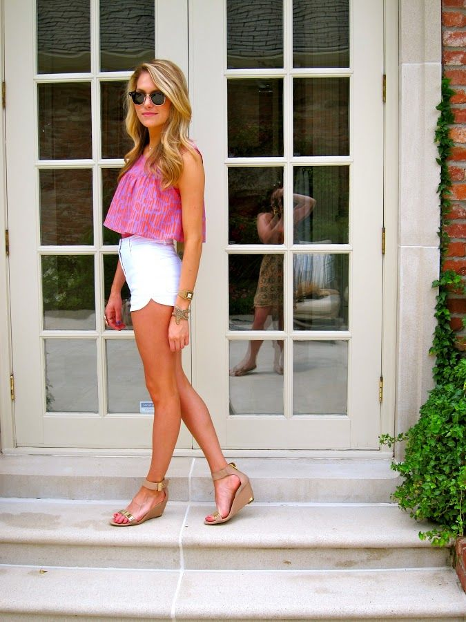 White Shorts, Nude Wedges + Bright Crop Top