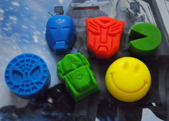 6 x Superhero Soap  Transformers Iron Man Spiderman by NerdySoap