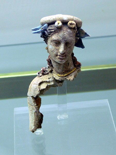 A woman, part of Hellenistic statue (terracotta), 4th-3rd century BC, (Archeological Museum, Chania).
