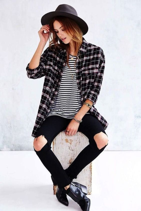 blue/white striped shirt, black knee rip jeans, black booties, plaid shirt, black hat