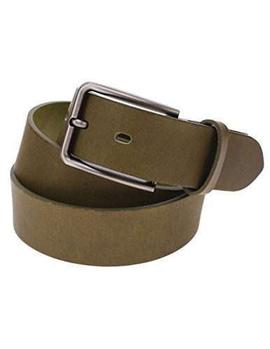 FLATSEVEN Mens Solid Color Genuine Leather Silver Metal Buckle Classic Belt (Y410), Green  #FLATSEVEN #Men #clothing #fashion #outfits #belts #accessories