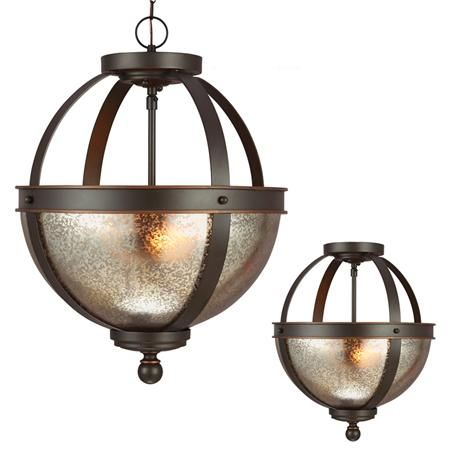 Demi Globe Semi Flush Mount Ceiling Light--$209. Also with frosted glass option