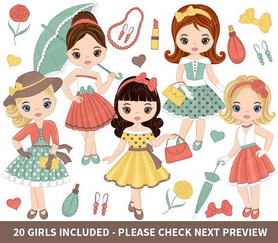 Retro Clipart, Vector Fashion Girls Clipart, Little Girls Clipart #thecreativemill