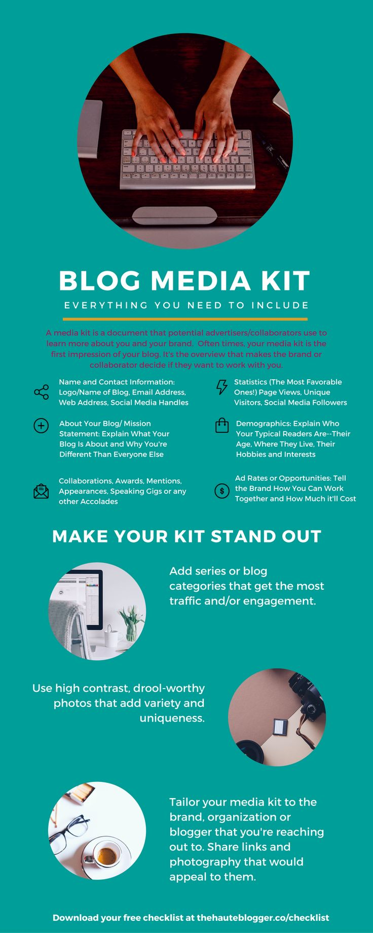 Everything you need for your media kit/press kit. Download a free printable checklist here: www.thehauteblogger.co/checklist