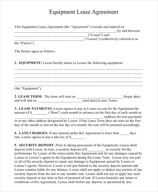 Image Result For Machine Rental Agreement Sample Contract