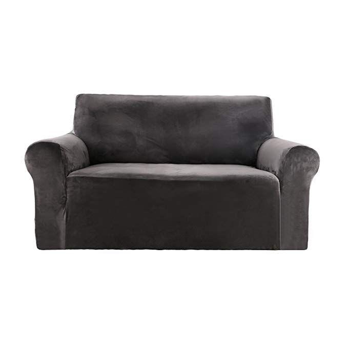Deconovo Stretch Strapless Sofa Slipcover Solid Color Premium Velvet Plush Grey Loveseat Sofa Cover Review Love Seat Loveseat Sofa Slipcovered Sofa