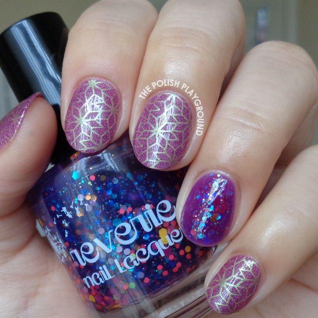 Purple and Gold Star Like Pattern Stamping Nail Art