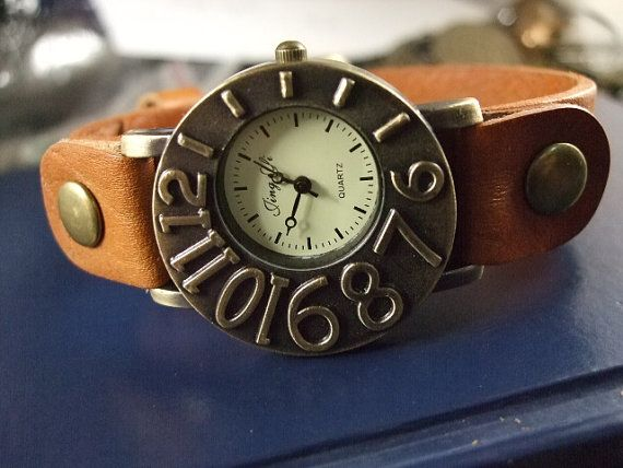 brass vitnage style brown band leather wrist watch by romeilushop, $6.99