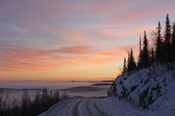 Sunrise over the Dundret Ski Resort near Gällivare, Lapland, Sweden.