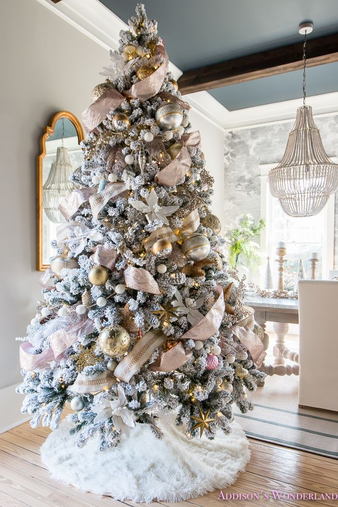 Inside Our Colorful Christmas Holiday Home Tour Living Room Black Ceiling Wood Beams Anthropologie Flocked Tree Ribbon How To Whitewashed
