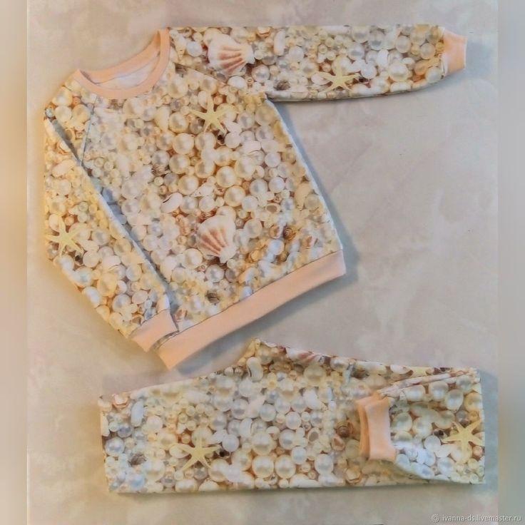 Купить Пижамка Сокровища моря - комбинированный, жемчуг, море, морская тема, пижама детская