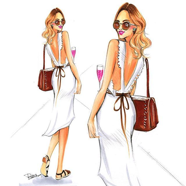 Fashion sketch of a casual white dress by Rongrong DeVoe, using Copic Markers.