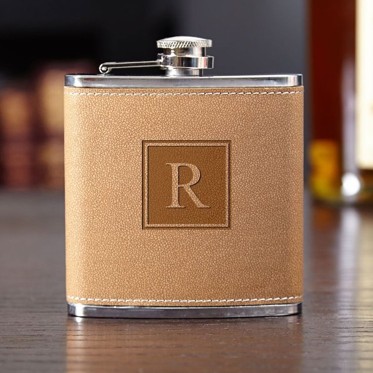 Cocoa Leather Block Monogram Hip Flask (tan/w) (Stainless Steel)