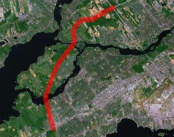 Laval extension of the 440 as planned in the 60s --- Section originalement planifiée dans les années 60