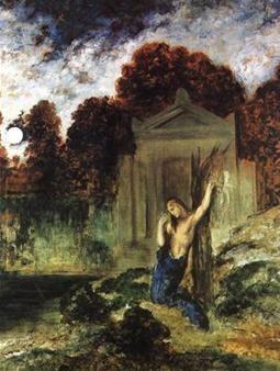 귀스타브 모로(Gustave Moreau)의 에우리디케 무덤 위의 오르페우스(Orphee sur la tombe d'Eurydice) / 1891 / 귀스타브 모로 미술관 소장