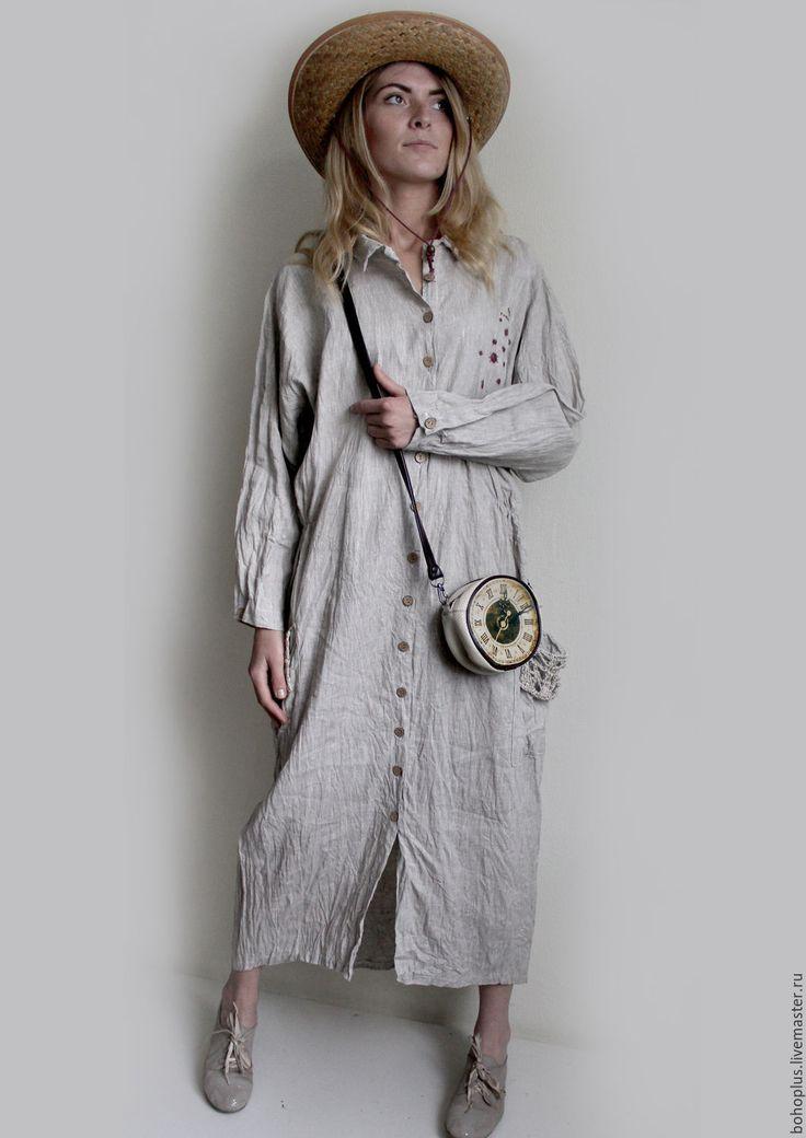"""Купить Платье-рубашка из льна """" Божья коровка 3"""" - бежевый, однотонный, льняная одежда"""