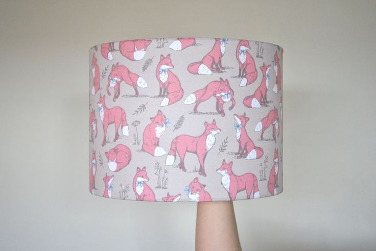 Fox Print Drum Lampshade | Hand Rolled | Ceiling Shade | Foxes | Christmas Present | Wildlife | Gifts For Her by RukuLampshades on Etsy