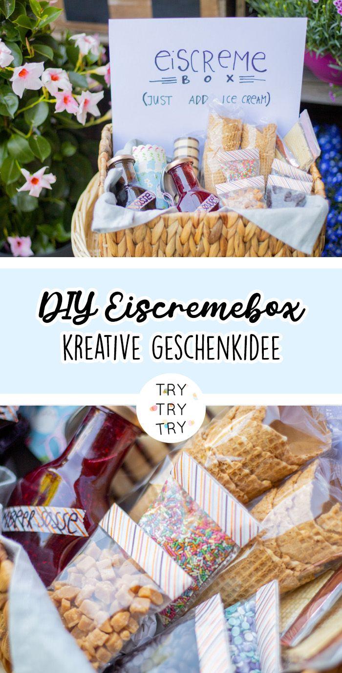Diy Eiscremebox Als Geschenkidee Geschenkideen Geschenke Diy Geschenke Weihnachten Freund