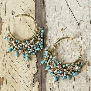 Turquoise And Cream Hoop Earrings