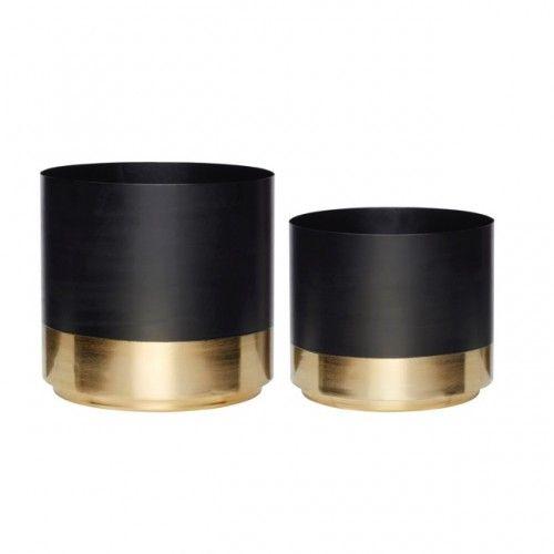 Hubsch set van 2 bloempotten zwart / goud