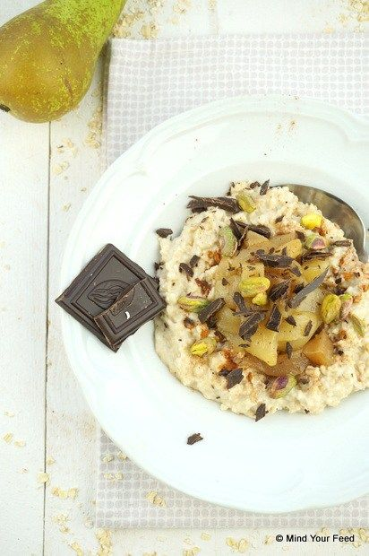 Havermout met peer, kaneel en chocola - #oats #pear #cinnamon #chocolate Mind Your Feed
