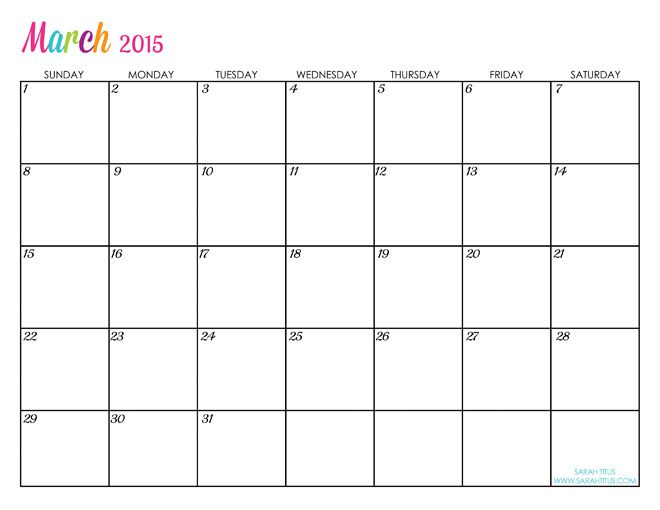 Printable Monthly Calendar Templates 2015 Idealstalist