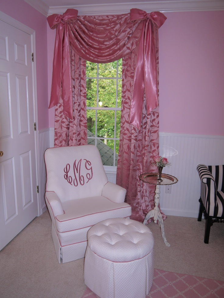 Pink bows curtains with pink monogrammed rocker