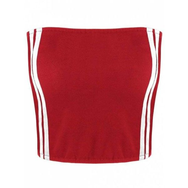 Cropped Striped Tube Top ($9.58) ❤ liked on Polyvore featuring tops, tube top, red striped top, red stripe top, crop tube top and cut-out crop tops