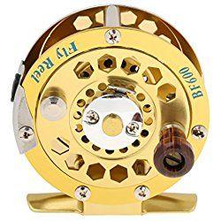 Aluminio Carrete De Pesca Con Mosca Girando Vuela Rueda De Hilo De Pescar Frente A Oro - verde, BF600