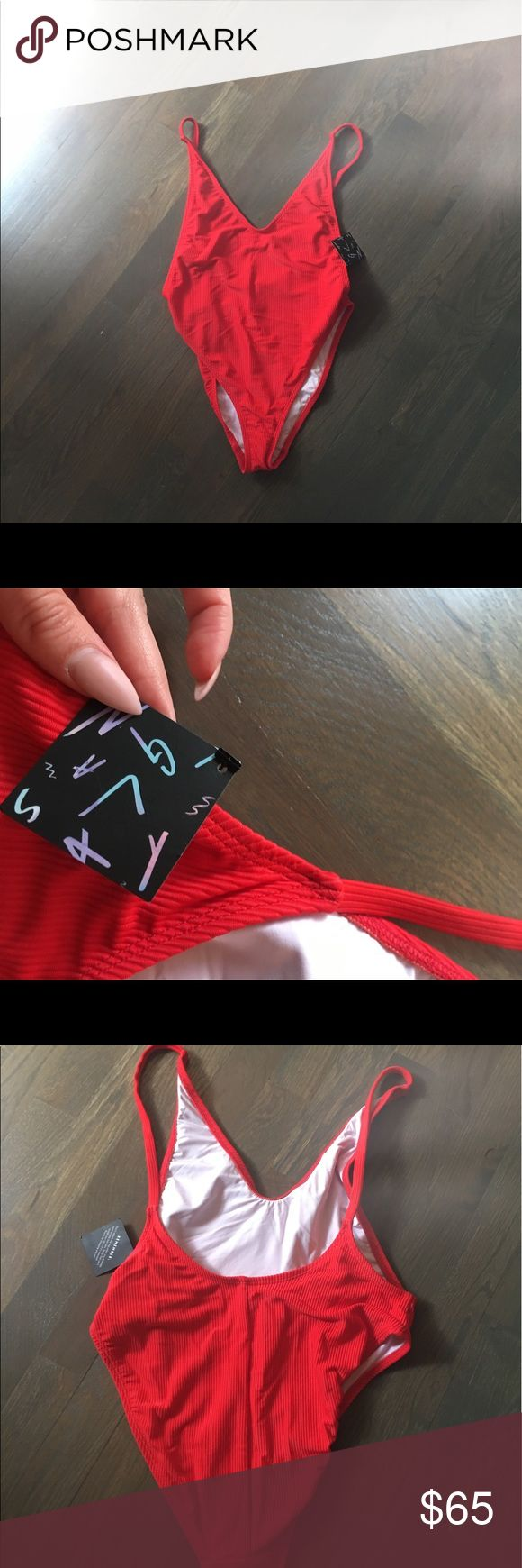 Nasty gal baywatch bathing suit Red baywatch bathing suit, never worn! Tags still attached. Nasty Gal Swim One Pieces