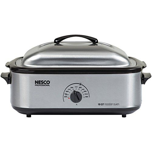 Nesco 18-Quart Professional Roaster Oven, Stainless Steel Base, Aluminum Lid, and Prcelain Cookwell