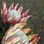 Pink Proteas on Brown Damask Pattern - 600x800cm - R7000 - Oil on Canvas - Unframed