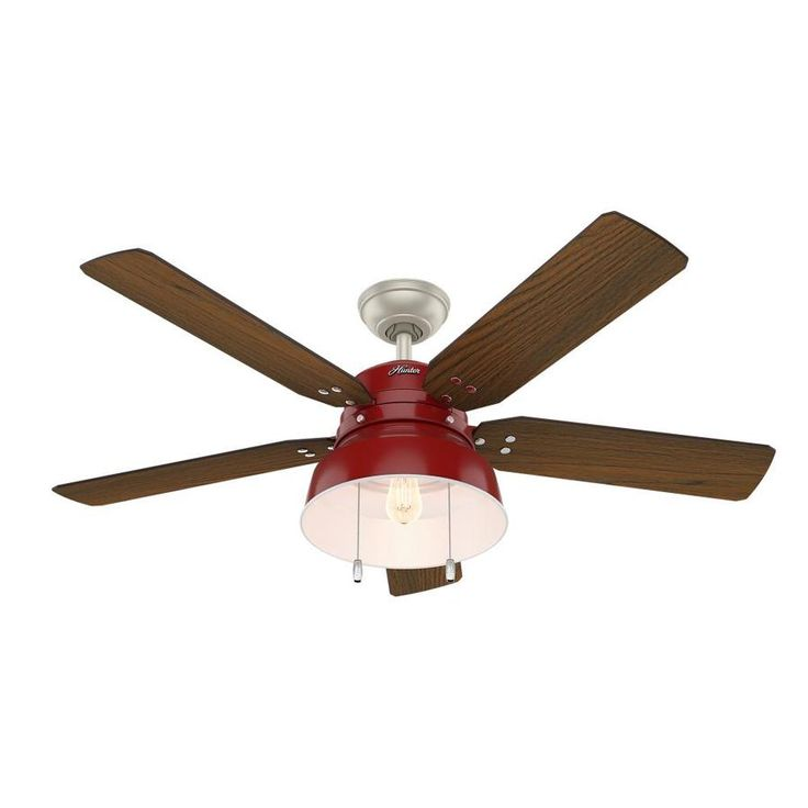 Hunter 1-Pack Mill Valley 52-in Red Downrod or close mount Indoor/Outdoor Ceiling Fan with Light Kit